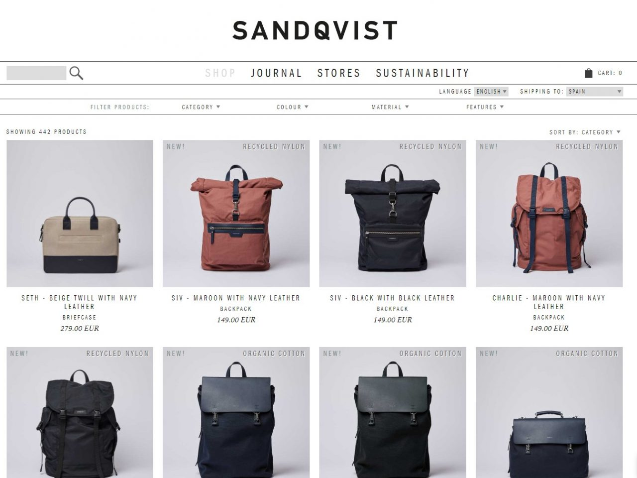 Sandqvist brand produce backpacks, bags and accessories